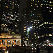 An exterior night shot of Grand Central Terminal  in Manhattan, New York, USA. 29th January 2013. Photo Tim Clayton