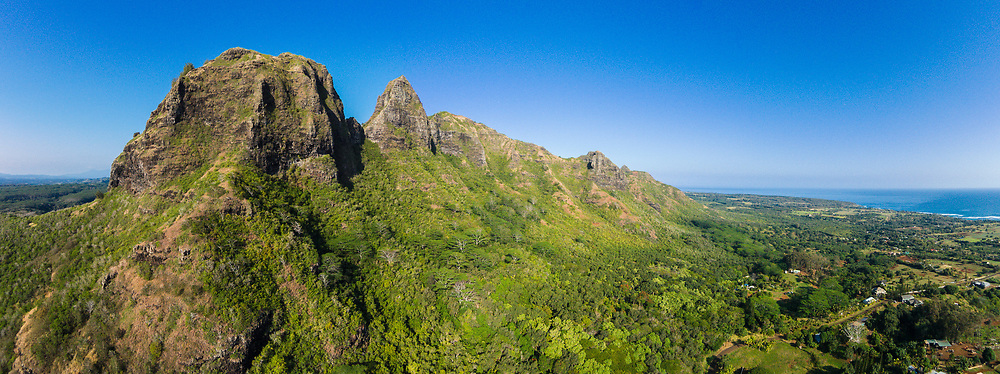 Aerial photograph of the Kalalea Mountains, Anahola, Kauai, Hawaii