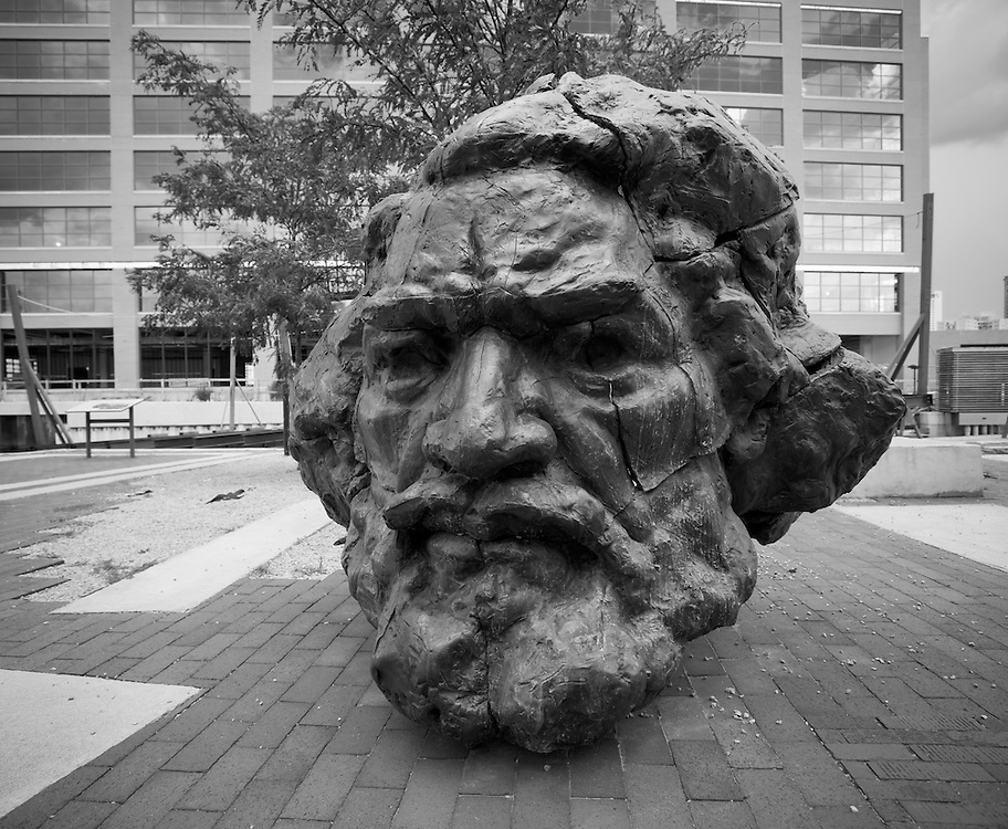 Sculpture of Frederick Douglas head in Fells point, MD