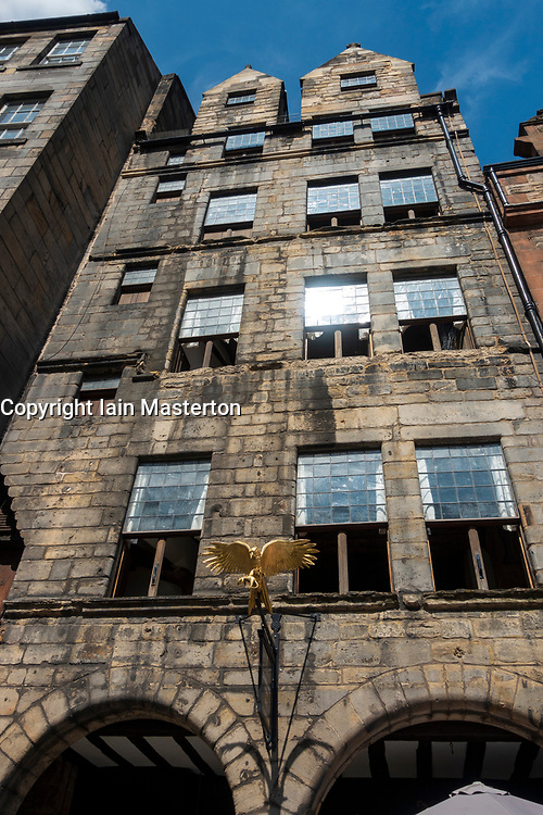 Exterior view of Gladstones Land historic building on Royal Mile in Old Town of Edinburgh, Scotland, Uk