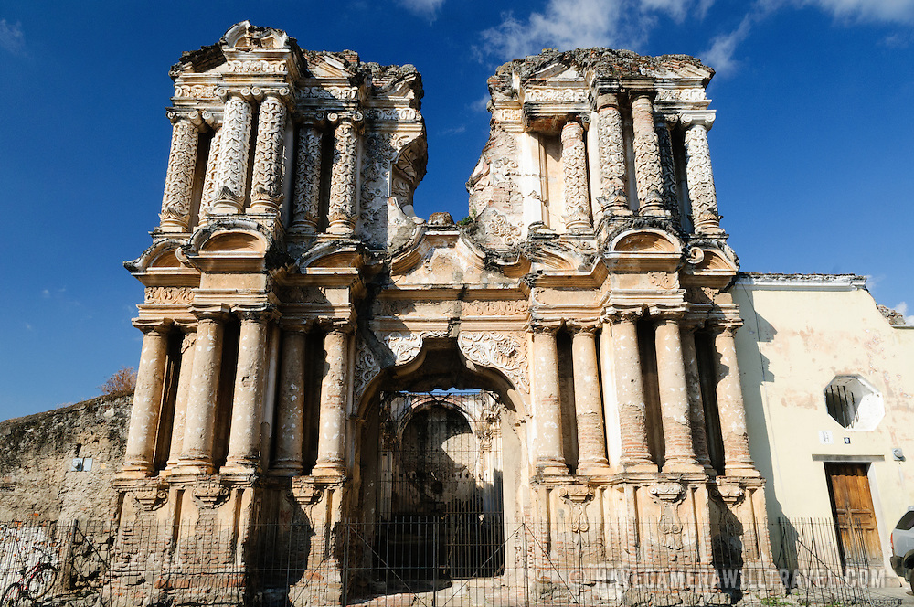 Some of the ruins of Spanish colonial buildings destroyed by some of the many earthquakes suffered by Antigua, Guatemala.