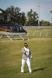 07062018 (Durban) Dj Tira showing off his outfit at the Vodacom Durban July flowing like water among the massive crowd expected at Greyville Racecourse in Durban for the running of the R4.25 million, Grade 1, Vodacom Durban July, the greatest racing, fashion and entertainment extravaganza on the African continent.<br /> Picture: Motshwari Mofokeng/African News Agency/ANA