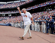 ATLANTA, GA - OCTOBER 2:  Former Atlanta Braves manager Bobby Cox walks on the field during pre-game ceremonies to honor the last game at Turner Field during the game between the Detroit Tigers and the Atlanta Braves on Sunday, October 2, 2016 in Atlanta, Georgia. (Photo by Mike Zarrilli/MLB Photos via Getty Images) *** Local Caption ***