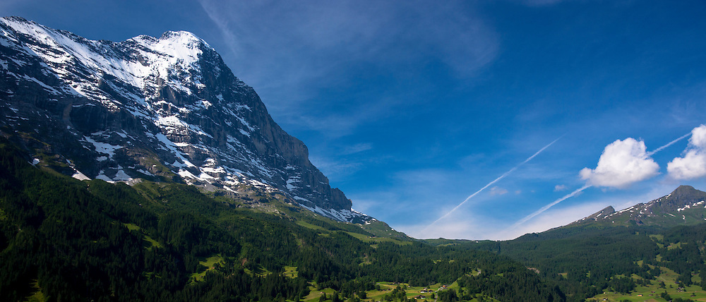 The Eiger mountain North Face in the Swiss Alps in the Bernese Oberland, Switzerland
