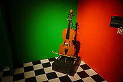 Cello Statue from Lego building blocks at the Holon Children's museum. Holon, Israel