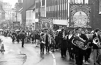 Rossington, Bentley and Hatfield Main Branch banners. 1991 Yorkshire Miners Gala. Doncaster.