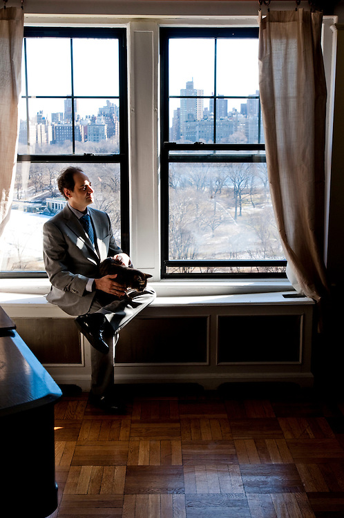 Julian Lowenfeld, writer, Pushkin historian and composer. Photographed at his home on Central Park West, in Manhattan, New York..Photographer: Chris Maluszynski /MOMENT