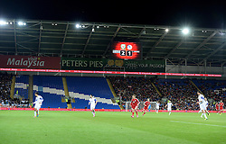 Although wales managed a crowd of 21 thousand they didn't mange to fill the Cardiff City Stadium  - Photo mandatory by-line: Alex James/JMP - Mobile: 07966 386802 - 13/10/2014 - SPORT - Football - Cardiff - Cardiff City Stadium - Wales v Cyprus - EURO 2016 Qualifiers