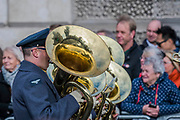 The RAF band arrive at the Cenotaph - Remembrance Sunday and Armistice Day commemorations fall on the same day, remembering the fallen of all conflicts but particularly the centenary of the end of World War One.