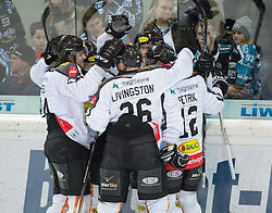 07.02.2016, Keine Sorgen Eisarena, Linz, AUT, EBEL, EHC Liwest Black Wings Linz vs Dornbirner Eishockey Club, Platzierungsrunde, im Bild Dornbirn feiert das 1 zu 0 // during the Erste Bank Icehockey League 51th round match - placement round between EHC Liwest Black Wings Linz and Dornbirner Eishockey Club at the Keine Sorgen Icearena, Linz, Austria on 2016/02/07. EXPA Pictures © 2016, PhotoCredit: EXPA/ Reinhard Eisenbauer