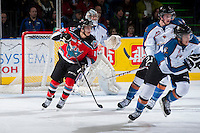KELOWNA, CANADA - DECEMBER 7: Kris Schmidli #16 of the Kelowna Rockets skates against the Kootenay Ice on December 7, 2013 at Prospera Place in Kelowna, British Columbia, Canada.   (Photo by Marissa Baecker/Shoot the Breeze)  ***  Local Caption  ***