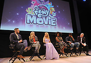 Hasbro Studios Executive Vice President, Chief Content Officer Stephen Davis, right, and Hasbro Co-Heads of Storytelling Meghan McCarthy, second left, and Josh Feldman, left, join MY LITTLE PONY: The Movie stars Tara Strong (Twilight Sparkle), Uzo Aduba (Queen Novo) and Taye Diggs (Capper), center left to right, for an exclusive presentation of My Little Pony: The Movie at the Hasbro Entertainment Preview Event, Monday, Feb. 20, 2017 in New York. MY LITTLE PONY: The Movie will be in theatres October 6, 2017. (Photo by Diane Bondareff/Invision for Hasbro/AP Images)
