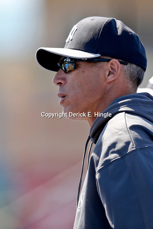 Mar 14, 2013; Dunedin, FL, USA; New York Yankees manager Joe Girardi (28) before a spring training game against the Toronto Blue Jays at Florida Auto Exchange Park. Mandatory Credit: Derick E. Hingle-USA TODAY Sports