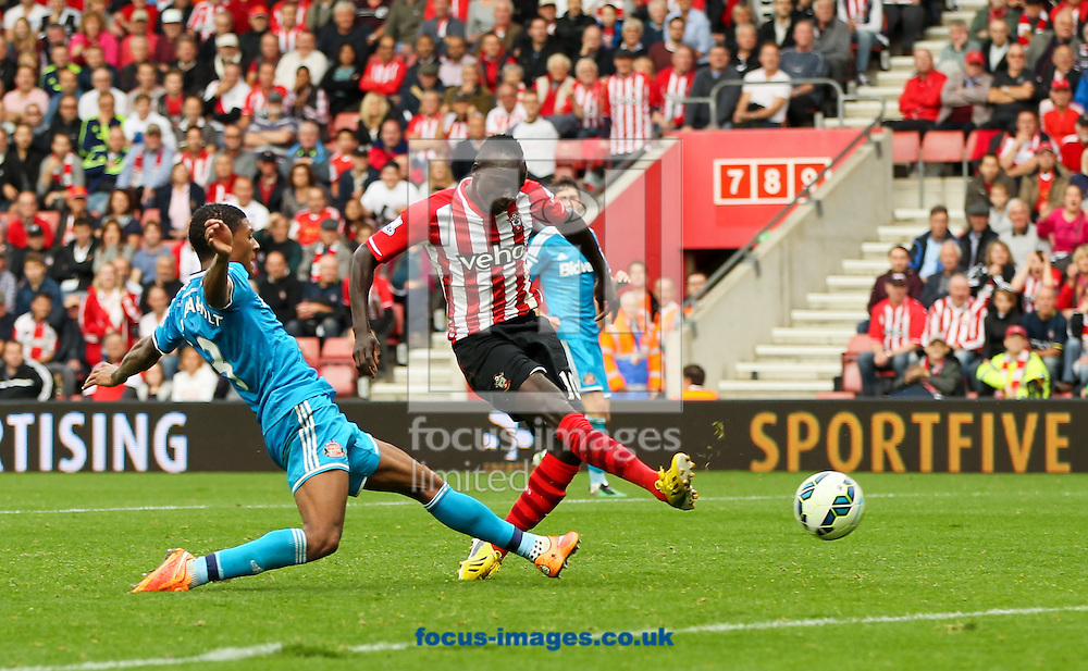 Sadio Man&eacute; (centre) of Southampton scores his sides eighth goal during the Barclays Premier League match at the St Mary's Stadium, Southampton<br /> Picture by Tom Smith/Focus Images Ltd 07545141164<br /> 18/10/2014