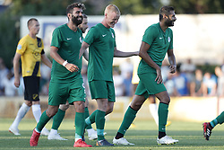 (L-R) Arno Verschueren of NAC Breda, Selim Ay of Atiker Konyaspor, Jens Jonsson of Atiker Konyaspor, during the Pre-season Friendly match between Konyaspor and NAC Breda at Sportpark De Gagelrijzen on July 31, 2018 in Sint Willebrord, The Netherlands