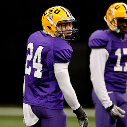 January 5, 2012; New Orleans, LA, USA; LSU Tigers cornerback Tyrann Mathieu wearing (24) during practice with cornerback Morris Claiborne (17) for the 2012 BCS National Championship game to be played on January 9, 2012 against the Alabama Crimson Tide at the Mercedes-Benz Superdome.  Mandatory Credit: Derick E. Hingle-US PRESSWIRE