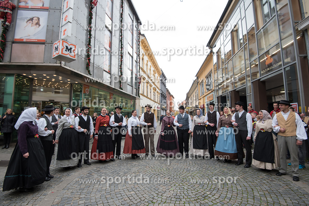 "Members of Academic folklore dance group ""Student""  during martinovanje, St. Martin's Day Celebration on November 11, 2019 in Maribor, Slovenia. Photo by Milos Vujinovic / Sportida"