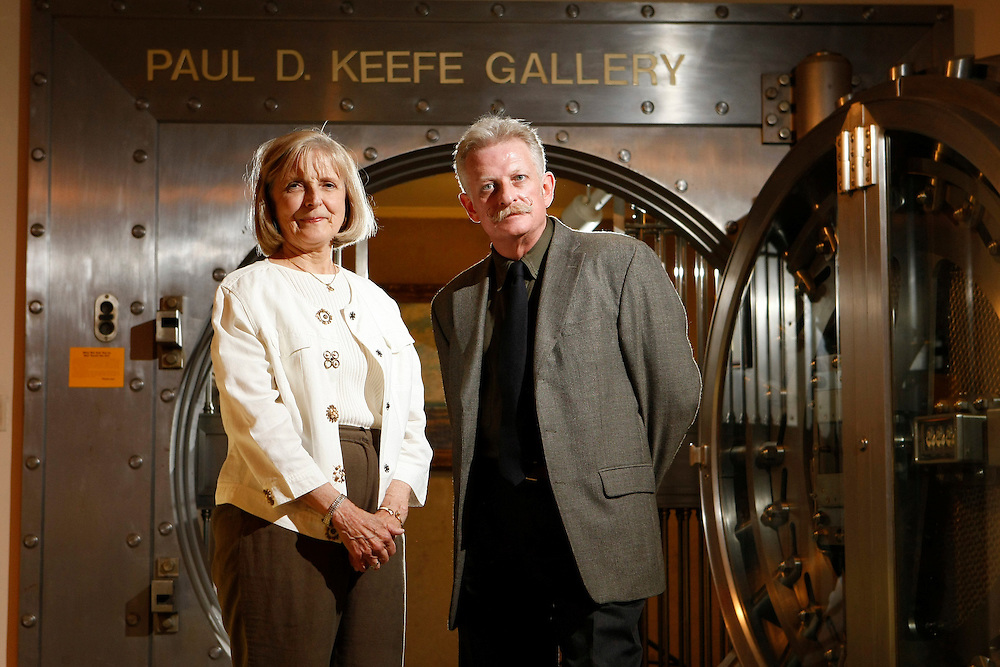 Jane Burns, Director, and Brian Byrn, Curator, pictured in front of the Paul D. Keefe Gallery at the Midwest Museum of American Art Tuesday, May 19, in Elkhart.<br />