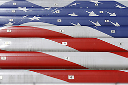 April 13, 2018 - Bristol, Tennessee, United States of America - April 13, 2018 - Bristol, Tennessee, USA: The grandstand is painted in the American Flag colors during the Food City 500 weekend at Bristol Motor Speedway in Bristol, Tennessee. (Credit Image: © Chris Owens Asp Inc/ASP via ZUMA Wire)