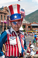 Patriotic man at 4th of July parade in Aspen, Colorado, USA model released