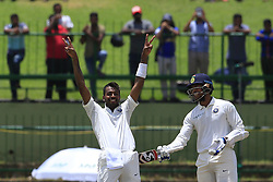 August 13, 2017 - Colombo, Sri Lanka - Indian cricketer Hardik Pandya  celebrates after scoring 100 runs during the 2nd Day's play in the 3rd Test match between Sri Lanka and India at the Pallekele International cricket stadium, Kandy, Sri Lanka on Sunday 13 August 2017. (Credit Image: © Tharaka Basnayaka/NurPhoto via ZUMA Press)