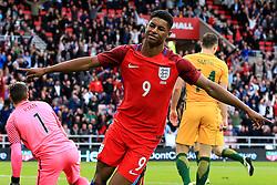 Marcus Rashford of England celebrates after scoring his sides first goal on his debut - Mandatory by-line: Matt McNulty/JMP - 27/05/2016 - FOOTBALL - Stadium of Light - Sunderland, United Kingdom - England v Australia - International Friendly