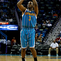 October 9, 2010; New Orleans, LA, USA; New Orleans Hornets point guard Chris Paul (3) shoots during the second half of a preseason game against the Memphis Grizzlies at the New Orleans Arena.The Grizzlies defeated the Hornets 97-90. Mandatory Credit: Derick E. Hingle