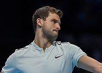 Tennis - 2017 Nitto ATP Finals at The O2 - Day Seven<br /> <br /> Semi Finals: Grigor Dimitrov (Bulgaria) Vs Jack Sock (United States)<br /> <br /> Grigor Dimitrov (Bulgaria) with a determined face at the O2 Arena <br /> <br /> COLORSPORT/DANIEL BEARHAM