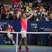 August 29, 2017 - New York, NY : The Spanish tennis player Rafael Nadal, in pink, reacts after defeating the Serbian player Dušan Lajović in Arthur Ashe Stadium on the second day of the U.S. Open, at the USTA Billie Jean King National Tennis Center in Queens, New York, on Tuesday afternoon. <br /> CREDIT : Karsten Moran for The New York Times