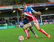 Jim McNulty, Jordan Turnbull during the The FA Cup match between Rochdale and Swindon Town at Spotland, Rochdale, England on 7 November 2015. Photo by Daniel Youngs.