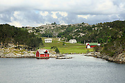 Rural coastal settlement houses north of Bergen, Norway