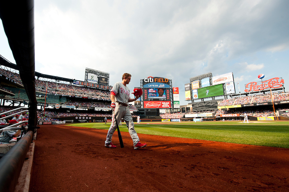 NEW YORK - JULY 16: Chase Utley #26 of the Philadelphia Phillies walks onto the field during the game against the New York Mets at Citi Field on July 16, 2011 in the Queens borough of Manhattan. (Photo by Rob Tringali) *** Local Caption *** Chase Utley