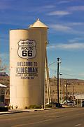 USA, Arizona, Kingman. Water tower along historic Route 66.