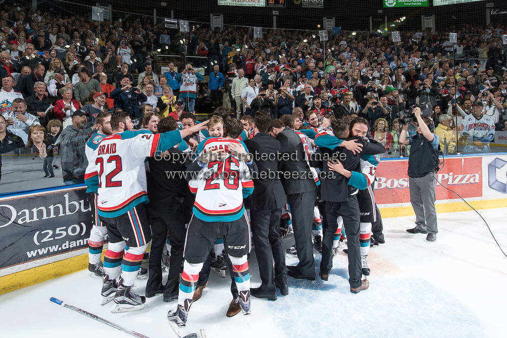 KELOWNA, CANADA - MAY 13: The Kelowna Rockets celebrate the WHL Championship title with a game 4 win against the Brandon Wheat Kings on May 13, 2015 during game 4 of the WHL final series at Prospera Place in Kelowna, British Columbia, Canada.  (Photo by Marissa Baecker/Shoot the Breeze)  *** Local Caption *** Celebrations; fans;