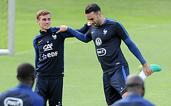 01.06.2016, Alpenstadion, Neustift, AUT, UEFA Euro, Frankreich, Vorbereitung Frankreich, im Bild v.l. Antoine Griezmann (FRA) und Adil Rami (FRA) // f.l. Antoine Griezmann and Adil Rami of France during Trainingscamp of Team France for Preparation of the UEFA Euro 2016 France at the Alpenstadion in Neustift, Austria on 2016/06/01. EXPA Pictures © 2016, PhotoCredit: EXPA/ ERICH SPIESS