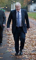 © Licensed to London News Pictures. 15/11/2017. London, UK.  Foreign Secretary Boris Johnson (R) walks to Whitehall ahead of a meeting with Richard Ratcliffe.  Mr Ratcliffe's wife, Nazanin Zaghari-Ratcliffe, is currently serving a five-year prison sentence after being arrested at Tehran airport in April 2016 as she attempted to return home from a visit to see her family. Her sentence may be increased after Foreign Secretary Boris Johnson mistakenly said she was in Iran to train journalists. Photo credit: Peter Macdiarmid/LNP