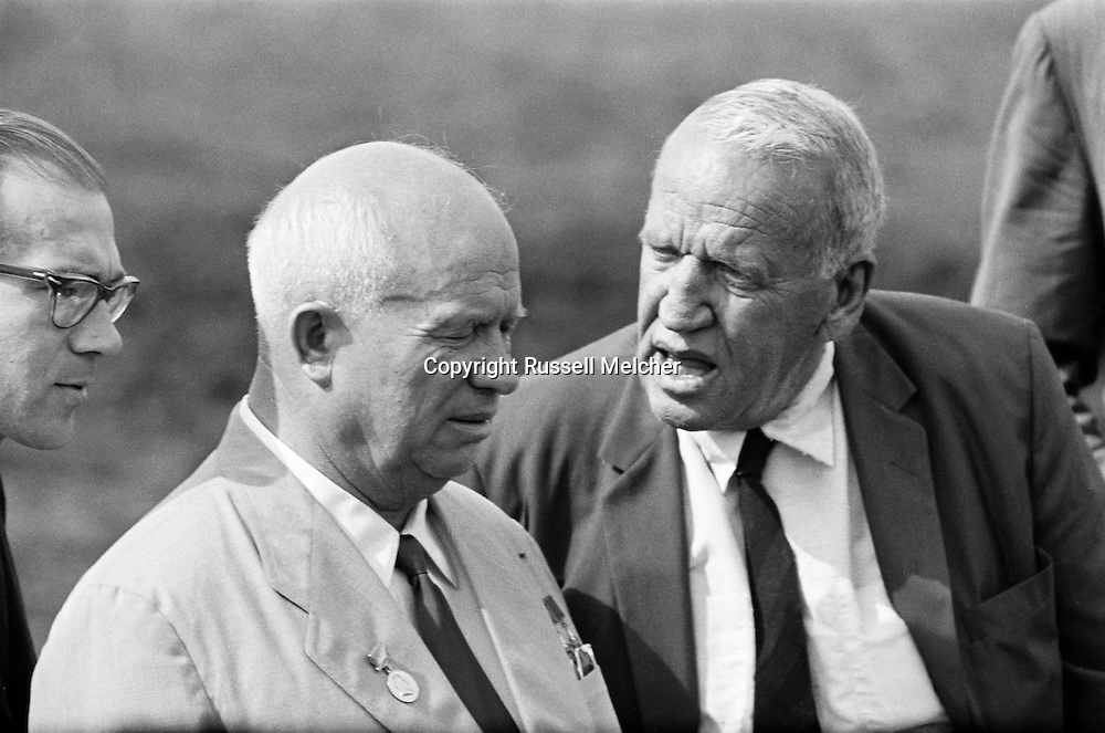 1959.September. A visit to the farm of Roswell Garst in Coon Rapids,Iowa. Garst had a revolutionary feeding method of mixing corn and stalk for a more balanced diet for the cows.<br />