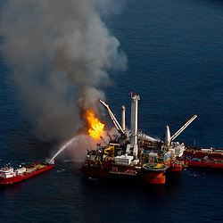 The BP Plc leased Q4000 vessel burns off all the oil and gas it collects from the riser on the sea floor at the site of the BP Plc Deep Water Horizon oil spill in the Gulf of Mexico off the coast of Louisiana, U.S., on Saturday, June 19, 2010.  (Mandatory Credit: Derick E. Hingle)