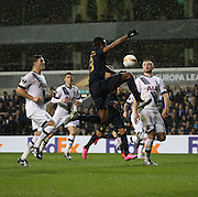 Monaco defender Wallace (Fortuna Dos Santos Wallace) with a chance during the Europa League match between Tottenham Hotspur and Monaco at White Hart Lane, London, England on 10 December 2015. Photo by Matthew Redman.