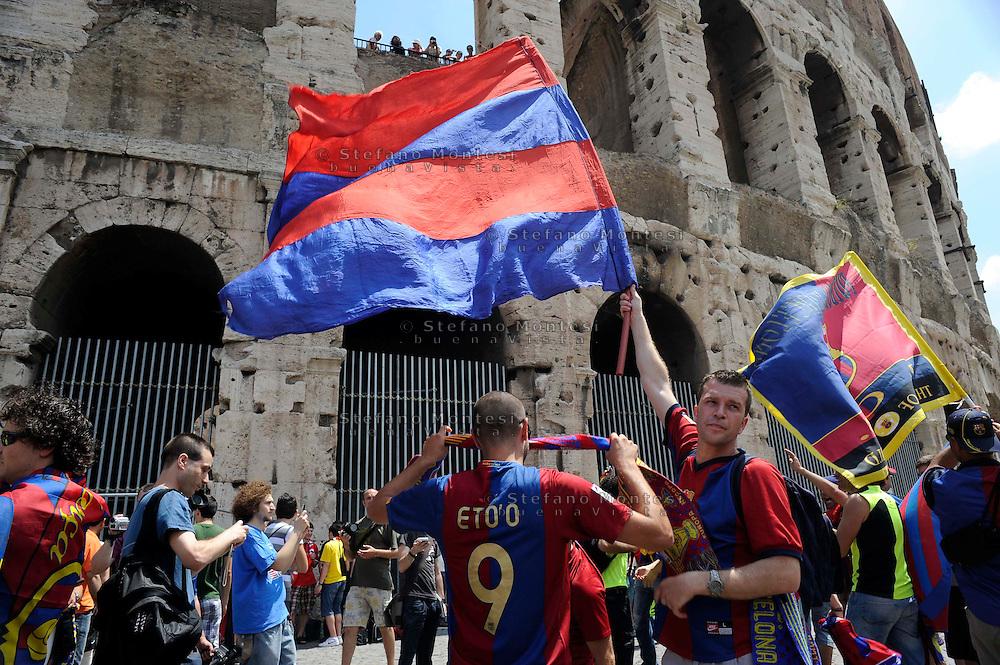 Roma 27 Maggio  2009.Finale di  Champions League 2009 tra ManchesterUnited F.C. vs  F.C.Barcellona.Tifosi del Barcellona al Colosseo .The Champions League final in Rome 2009.Barcelona fans in the Colosseum