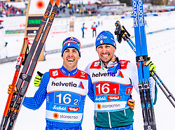 24.02.2019, Langlauf Arena, Seefeld, AUT, FIS Weltmeisterschaften Ski Nordisch, Seefeld 2019, Langlauf, Herren, Teambewerb, im Bild v.l. Federico Pellegrino (ITA), Francesco De Fabiani (ITA) // f.l. Federico Pellegrino and Francesco De Fabiani of Italy during the men's cross country team competition of FIS Nordic Ski World Championships 2019 at the Langlauf Arena in Seefeld, Austria on 2019/02/24. EXPA Pictures © 2019, PhotoCredit: EXPA/ Stefan Adelsberger