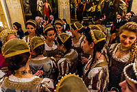 "A tradition of the Venice Carnival is the ""Festa delle Marie"" where 12 beautiful Venetian girls wearing dresses recalling the Golden Age of the Venetian Republic compete to be named the winner Maria of the Venice Carnival at the Le Fenice Theater, Venice, Italy."