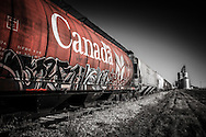Canadian CN Rail car with graffiti, Alberta Canada