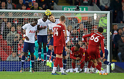 LIVERPOOL, ENGLAND - Sunday, October 27, 2019: Tottenham Hotspur's Davinson Sanchez and Harry Kane defend a free-kick from Liverpool's Trent Alexander-Arnold during the FA Premier League match between Liverpool FC and Tottenham Hotspur FC at Anfield. (Pic by David Rawcliffe/Propaganda)
