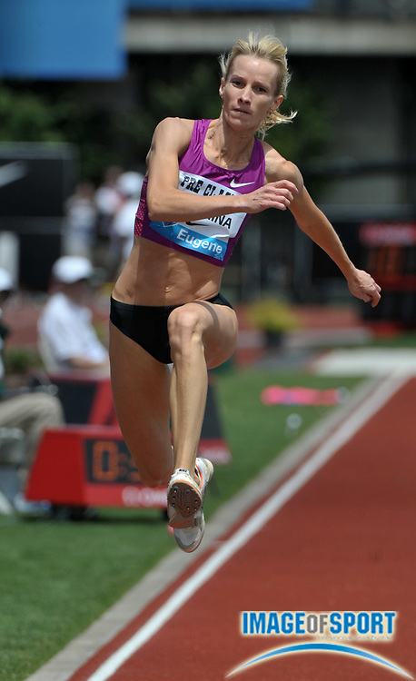 Jul 3, 2010; Eugene, OR, USA; Nadezhka Alekina (RUS) won the women's triple jump in a meet record 47-11 3/4 (14.62m) in the 36th Prefontaine Classic at Hayward Field. Photo by Image of Sport