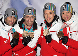 23.02.2018, Austria House, Pyeongchang, KOR, PyeongChang 2018, Medaillenfeier, im Bild Kombi Team // Kombi Team during a medal celebration of the Pyeongchang 2018 Winter Olympic Games at the Austria House in Pyeongchang, South Korea on 2018/02/23. EXPA Pictures © 2018, PhotoCredit: EXPA/ Erich Spiess