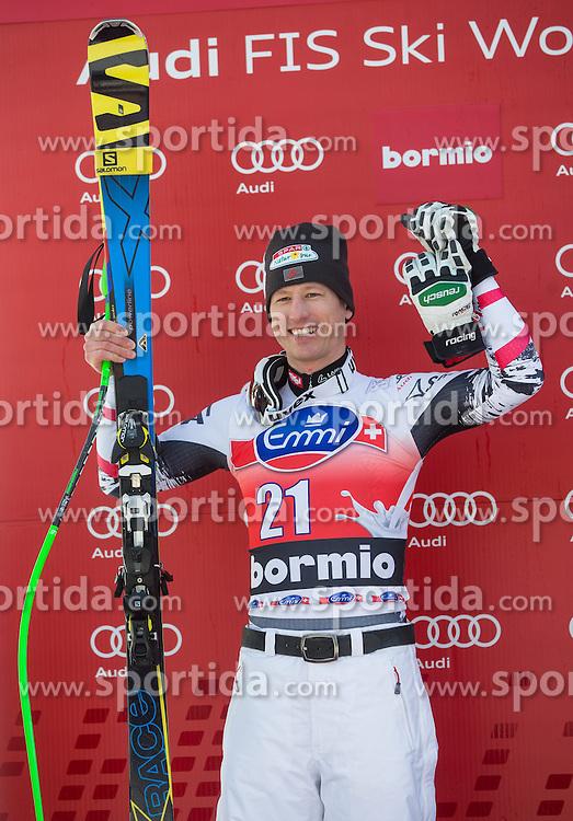 29.12.2013, Stelvio, Bormio, ITA, FIS Ski Weltcup, Bormio, Abfahrt, Herren, Siegerpraesentation, im Bild Hannes Reichelt (AUT, 2. Platz) // 2nd place Hannes Reichelt of Austria#7 Celebrate on Podium after mens downhill of the Bormio FIS Ski Alpine World Cup at the Stelvio Course in Bormio, Italy on 2013/12/29. EXPA Pictures © 2013, PhotoCredit: EXPA/ Johann Groder