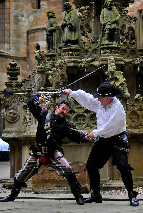 A medley of Medieval events took place at Linlithgow Palce this weekend with members of the public being treated to Swordsmanship, Jousting and Warfare.  Pictured Davie Hunter and Dennis Reid (White) from Black Raven Living History give a demonstration of swordsmanship in the courtyard of the palace.