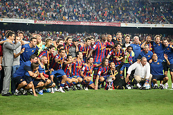 FC Barcelona's players celebrate the victory in the Supercup of Spain.August 23 2009.