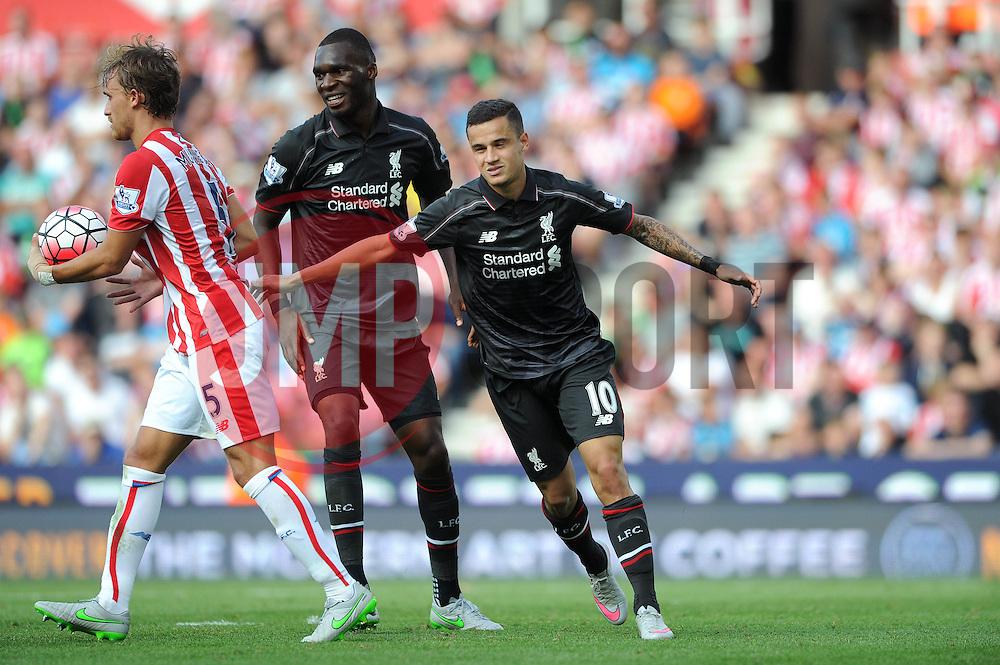 Philippe Coutinho of Liverpool celebrates - Mandatory byline: Dougie Allward/JMP - 07966386802 - 09/08/2015 - FOOTBALL - Britannia Stadium -Stoke-On-Trent,England - Stoke City v Liverpool - Barclays Premier League